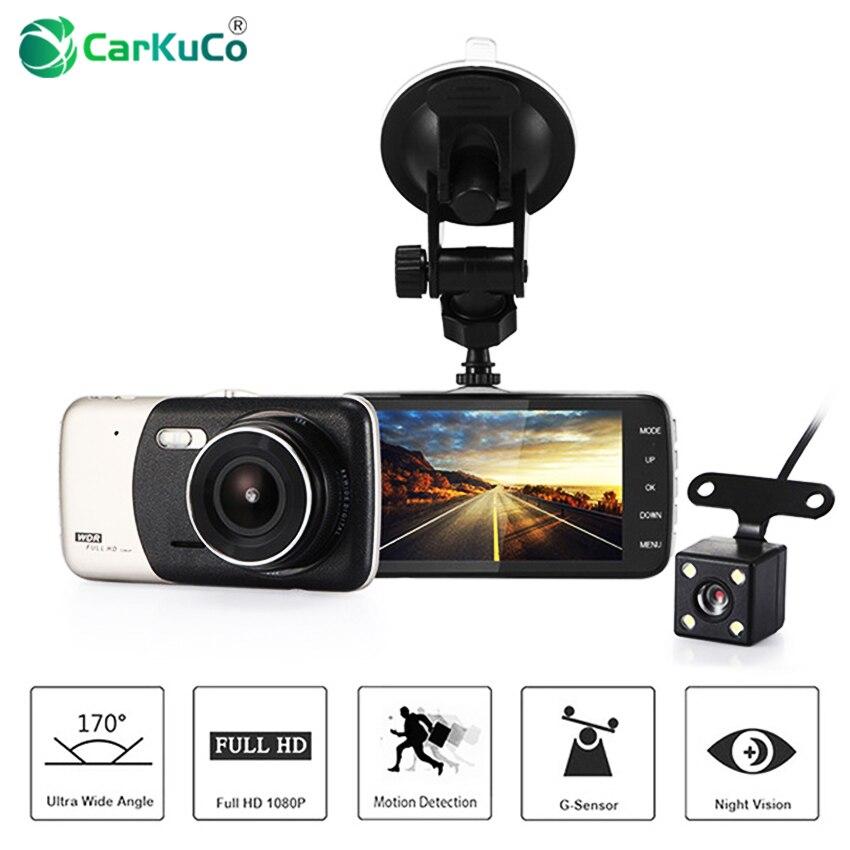 Автомобильный dvr 4 ips экран видеомагнитофон Автомобильная камера двойной объектив FHD 1080P Дэш-камера ночного видения g-сенсор регистратор + ка...