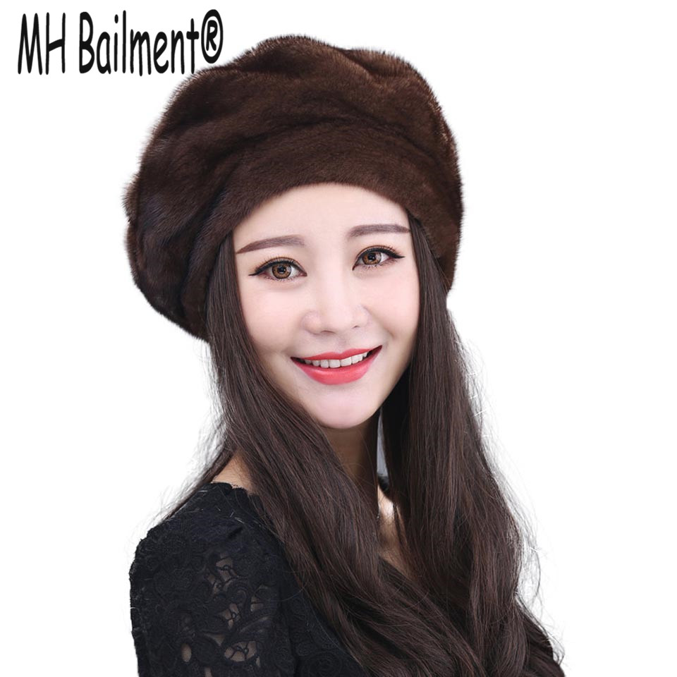 2017 Real Mink Fur Hats Women Warm Natural Mink Fur Cap New Style Good Quality Famle Whole Fur Casquette Berets Winter Hat H#14 women s winter beanie hat wool knitted cap shining rhinestone beanie mink fur pompom hats for women