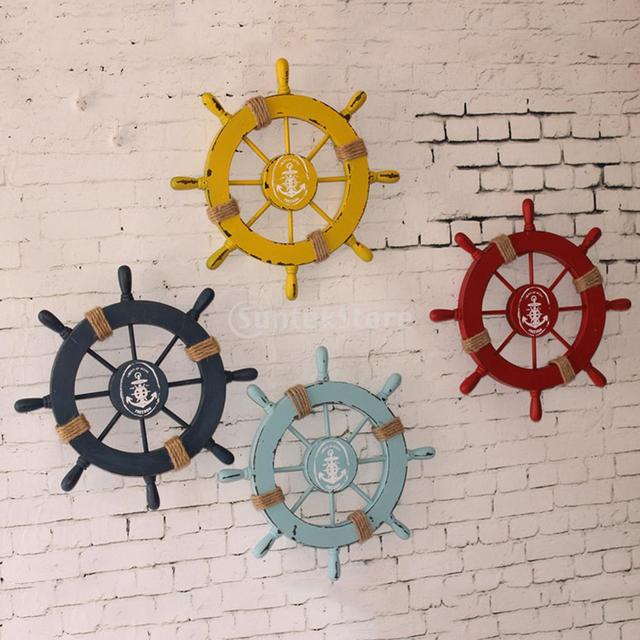 Wooden Ship Wheel Decor Nautical Beach Boat Steering Home Wall