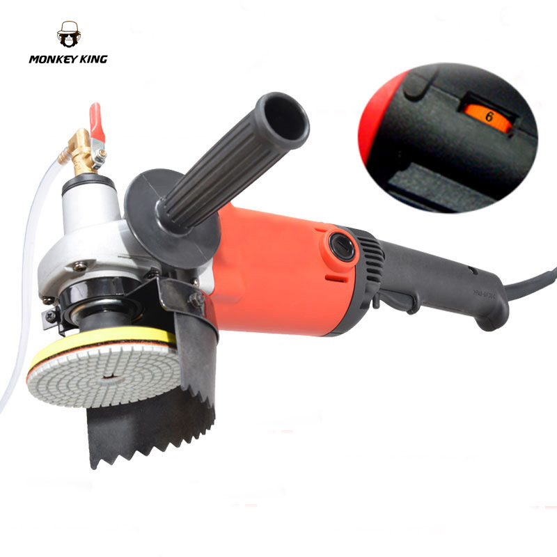 1400W 4 Electric Stone Hand Wet Polisher Grinder Variable Speed Water Mill C/W 8 Pcs 4 Diamond Polishing Pads
