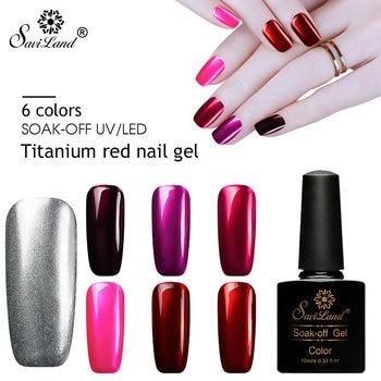 Saviland Hybrid Glitter Titanium Red Gel Varnish Mirror Metal Bright Acrylic Color Nail Glue Gel polish UV Gel Nail Lacquer