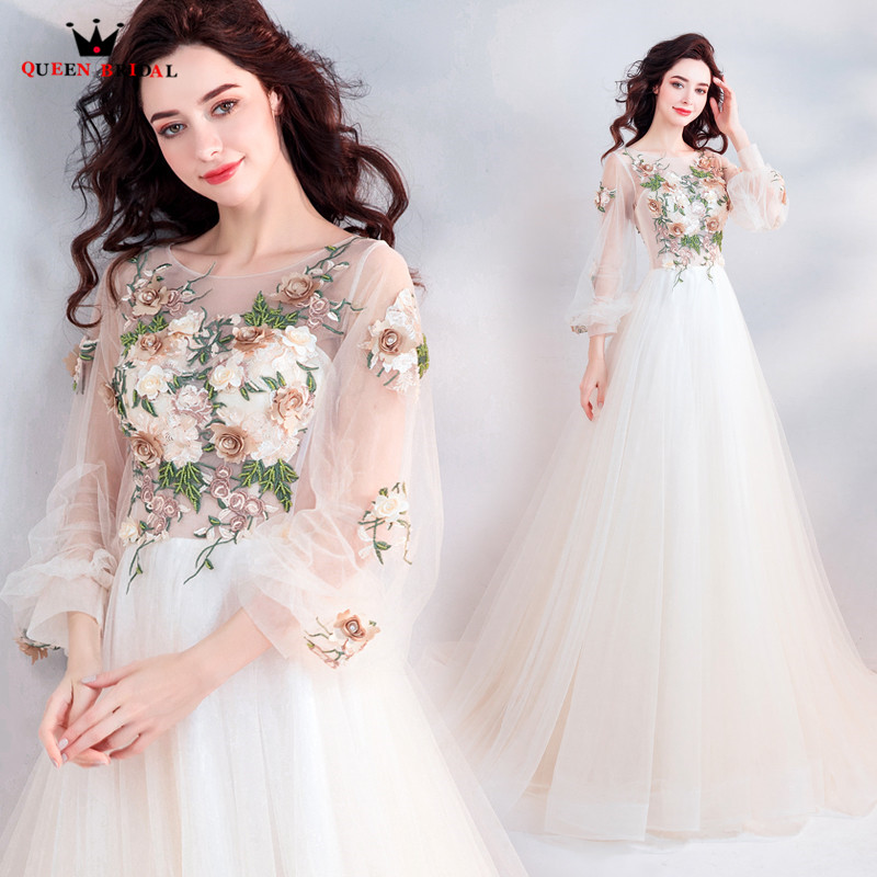 A-line Long Sleeve Tulle Flowers Lace Romantic Formal   Evening     Dresses   2018 New Arrival   Evening   Gown Robe De Soiree JU81