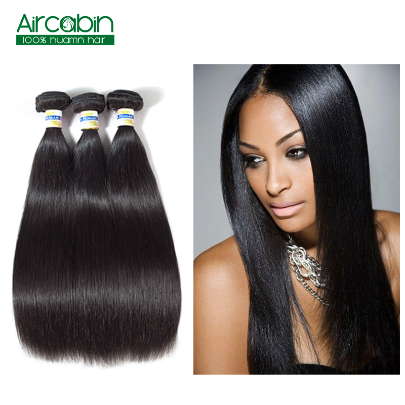 Peruvian Human Hair Weave Straight Hair 3 Bundles AirCabin Remy Extensions Natural Black ...