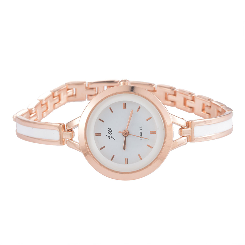 Doreen Box Ceramic Quartz Wrist Watches Rose Gold Color White Dial Plate Trendy Battery Included 19.5cm(7 5/8) long, 1 Piece