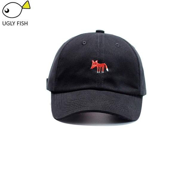 Las mujeres negro Rosa gorra de béisbol mujeres Fox animal sombrero del  papá del bordado mujeres 016088f024d