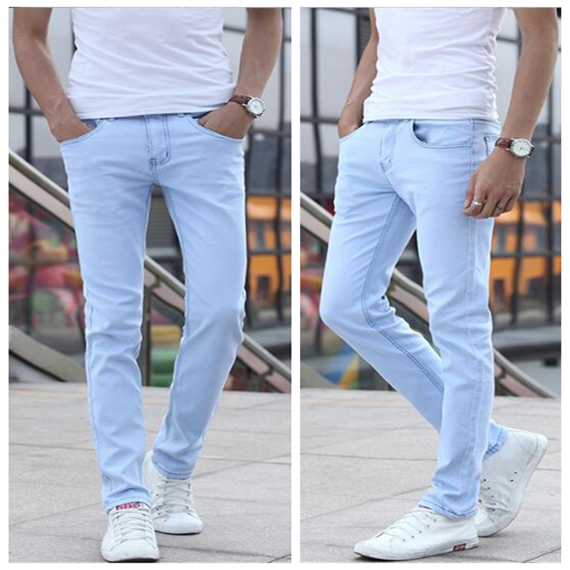 2018 Small Stretch Light Blue Cotton Men's Jeans 28 29 30 31 32 33 34 36 Sky Blue Man Jeans Trousers Slim Soft And Comfortable