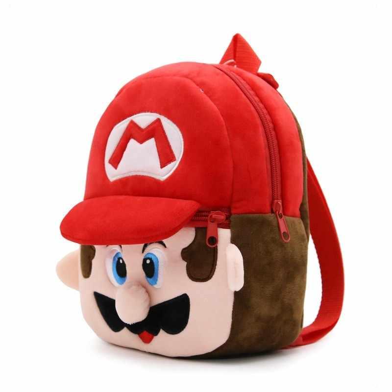 1-3years Çocuk Bebek Mochila Çocuklar Okul Çantaları Süper Mario Peluş Sırt Çantaları Karikatür Peluş Sırt Çantaları Mini Okul Öncesi Okul Çantaları