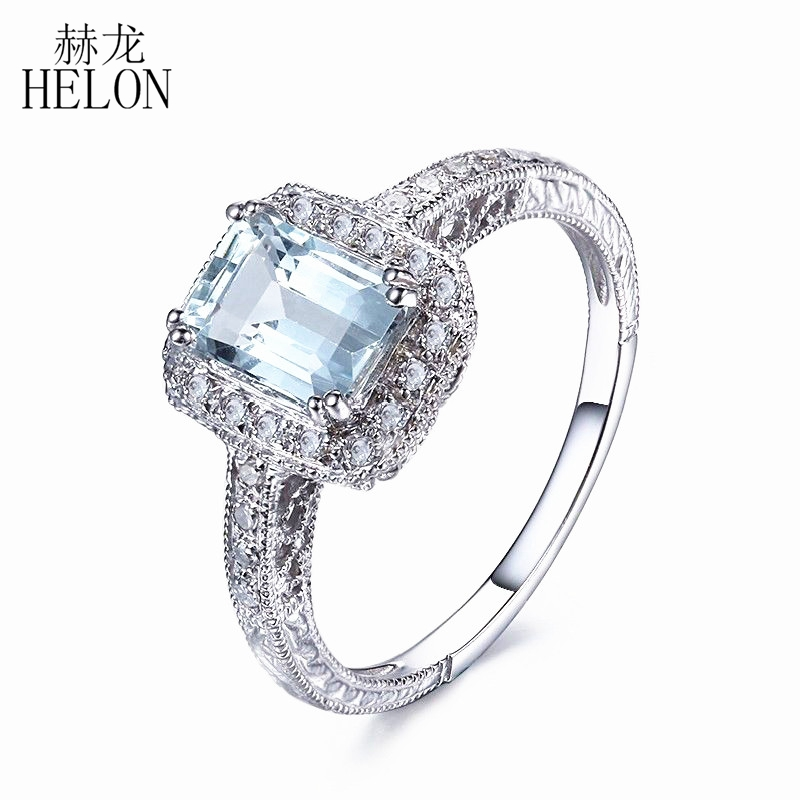 HELON Solid 14K White Gold 7X5mm Emerald Genuine Aquamarine Engagement Natural Diamonds Ring Art Dceo Wedding Fine Jewelry Ring