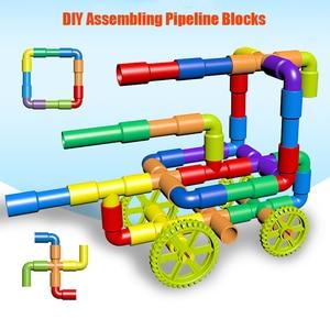 Image 4 - 38 306pcs חינוכיים DIY צינור מים אבני בניין הרכבת צינור מנהרת פלסטיק בלוקים צעצועים לילדים מתנות
