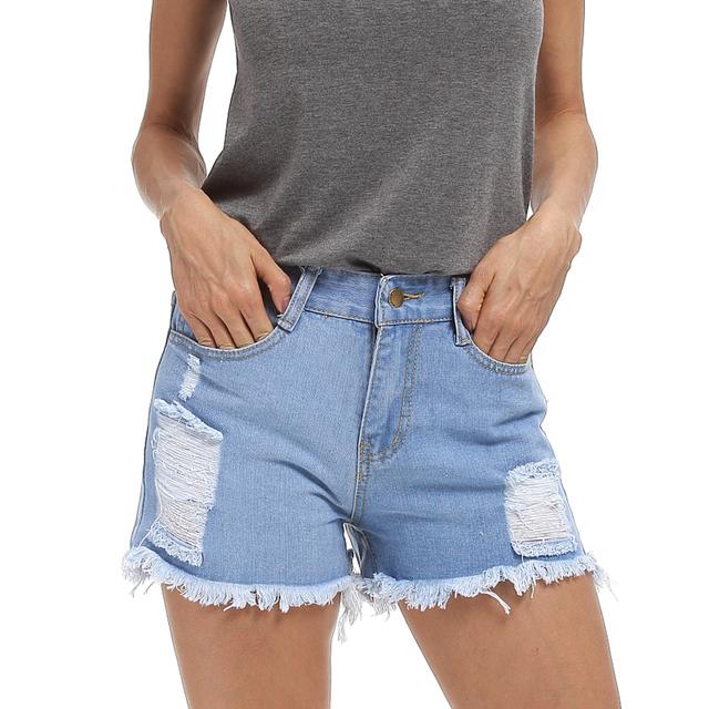 Europa Moda Verão 2017 Nova Curto Feminino das Mulheres Rebarbas Alta Short Jeans cintura Plus Size Senhoras Sexy Shorts Jeans 4XL 5XL
