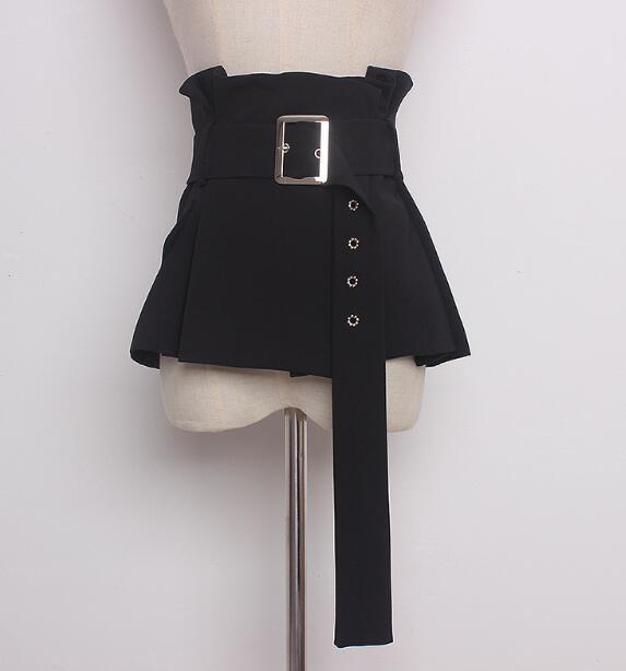 Women's Runway Fashion Black Fabric Cummerbunds Female Korean Fashion Decoration Wide Belt R887
