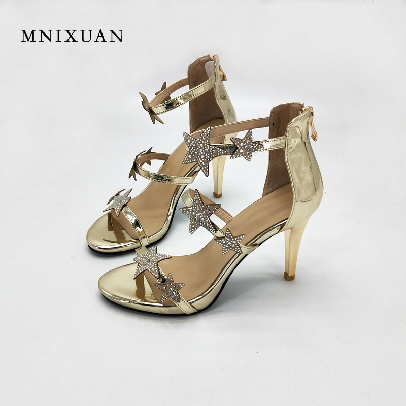 MNIXUAN women sandals shoes 2018 summer new open toe ladies gladiator high heels crystal star thin heel party shoes big size 40 mnixuan women slippers sandals summer
