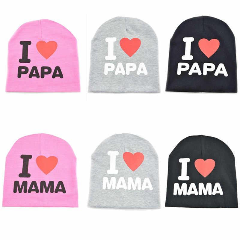 2f6e03b1aa3 BalleenShiny I Love PAPA MAMA Baby Hats Beanies Cute Toddler Kids Newborn  Girls Boys Infant Cotton