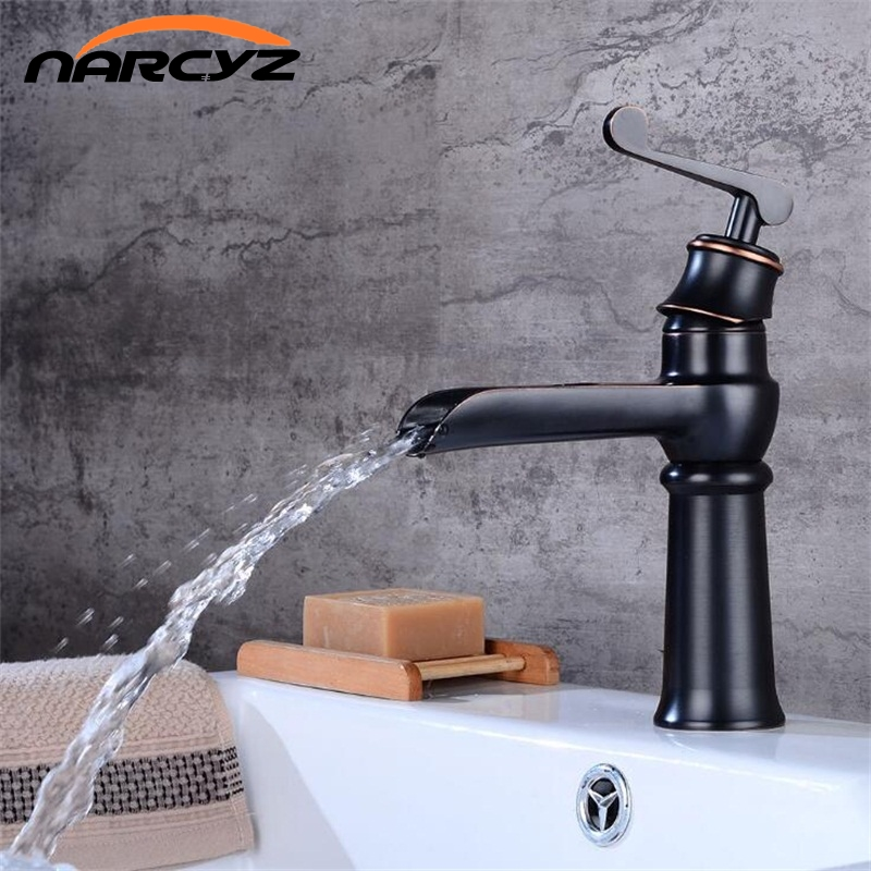 New Style Black waterfall sink tap bathroom faucet basin sink tap ORB brass black waterfall faucet Hot and Cold mixer tap B548