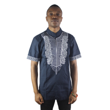 Africa Navy Blue Men`s Embroidery Folk Tops Summer Short Sleeved Ethnic Shirts For Formal Wearing цена