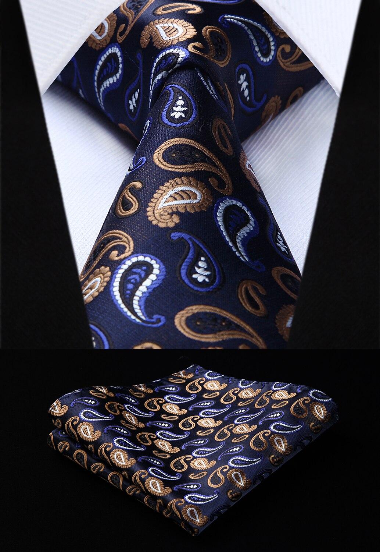 Woven Men Tie Navy Blue Khaki Paisley Necktie Handkerchief Set#TP715V28S Party Wedding Classic Fashion Pocket Square Tie