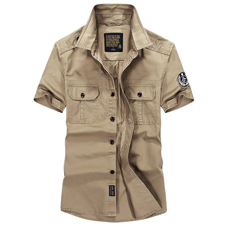 Mens Tactical Cargo Shirts Special Forces Soldiers Short Sleeve Airborne Bomber Military Shirts Summer Clothes High-quality