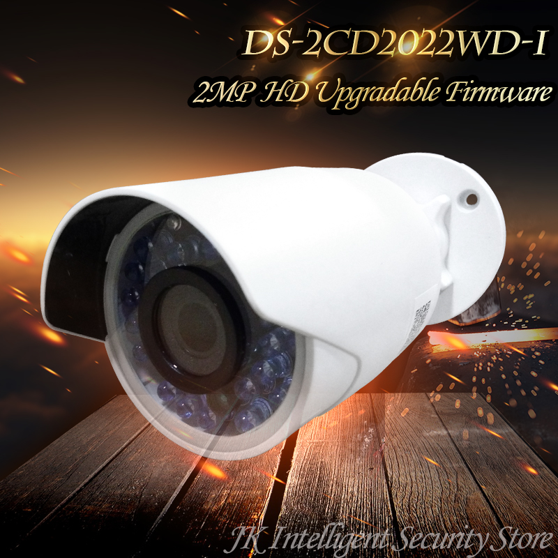 Hikvision Free Shipping DS-2CD2022WD-I English Oversea Version IP housing 2MP Bullet IR Camera POE security P2P Onvif H265 White
