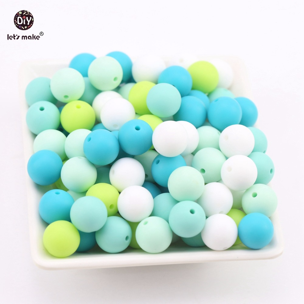 Lets Make Silicone Beads Green Series Bead 100pc Can Chew Teething Accessories DIY Nursing Necklace Bracelet Beads Baby Teether