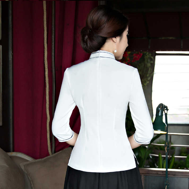 2018 Fashion Chinese style Shirt Womens Mandarin Collar Blouse Lady Clothing cheongsam Summer Short Qipao Dress Size S-XXXL