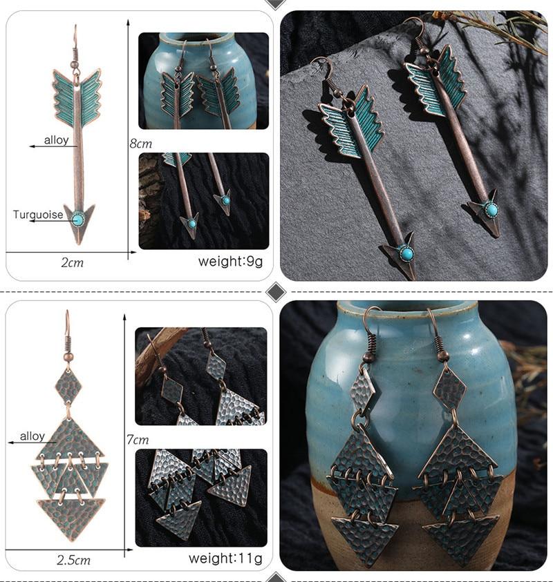 Vintage Bronze Geometric Women's Earrings Jewelry 2019 Long Metal Tass (4)