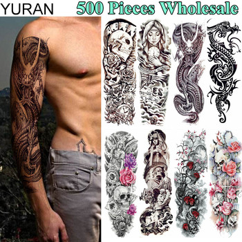 YURAN 500 Pieces Full Arm Leg Fake Tattoo Temporary 48x17CM Dragon Warrior Tatoo Flash 3D Body Art For Men Women Tattoo Stickers