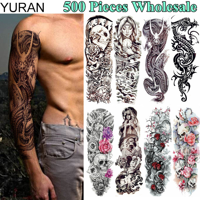 1c355cbf4fe2f YURAN 500 Pieces Full Arm Leg Fake Tattoo Temporary 48x17CM Dragon Warrior  Tatoo Flash 3D Body Art For Men Women Tattoo Stickers