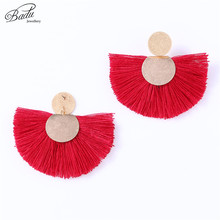 Badu Red Tassel Earring for Women Big Round Stud Earrings Vintage Statement Jewelry Frosted Gold Gift Girls Wholesale