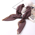 Luna&Dolphin Luxury Brand 70x70cm Chiffon Square Scarves Striped NeckerChief Lady Headband Collar With Leather Buckle Mother's