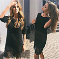 2016 New Autumn Winter Lace Dress Women Fashion Solid Black White Long Sleeve O-neck elegant Loose office Dress Women Dresses