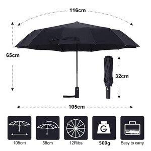 Image 2 - Guarda chuva dobrável para homens e mulheres, forte, resistente ao vento, dobrável, automático, com 12 aberturas, guarda chuva portátil com cabo longo