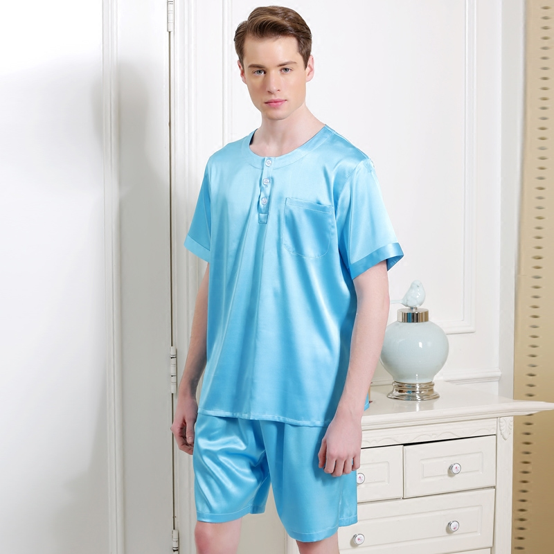 17005 Yier Brand Summer Heavy Silk Sleepwear Men's Pajamas Male Short-sleeve Shorts Sets 100% Silk Pajamas Men Pyjamas Set