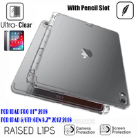 buy online 99996 00e55 Soft Silicon Case For iPad Pro 11 2018 Back Cover With Pencil Holder Clear  Transparent Case Cover For iPad 9.7 2017 2018 Pro 9.7