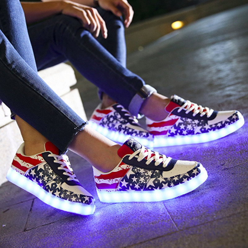 aa52e1b2646e DoGeek Light up Shoes American Star Flag Night Led Unisex Women USB  Charging Glowing Shoes Gifts for Girls-in Women s Flats from Shoes on  Aliexpress.com ...