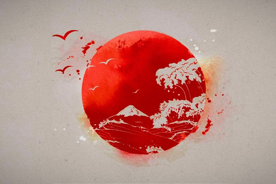 US $4 05 19% OFF|Japanese Sun seagull artwork poster Silk Fabric Printing  Wall Art Decor-in Painting & Calligraphy from Home & Garden on