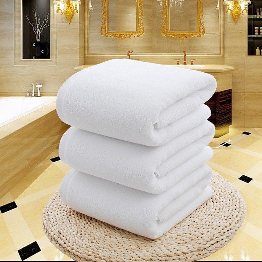 2f0e56ee3c75 Branco Grande Banho de Chuveiro Toalha de Algodão Grosso Toalha de banho de  Toalhas de Casa de Banho Do Hotel Adultos Crianças Badhanddoek Guardanapo de  ...