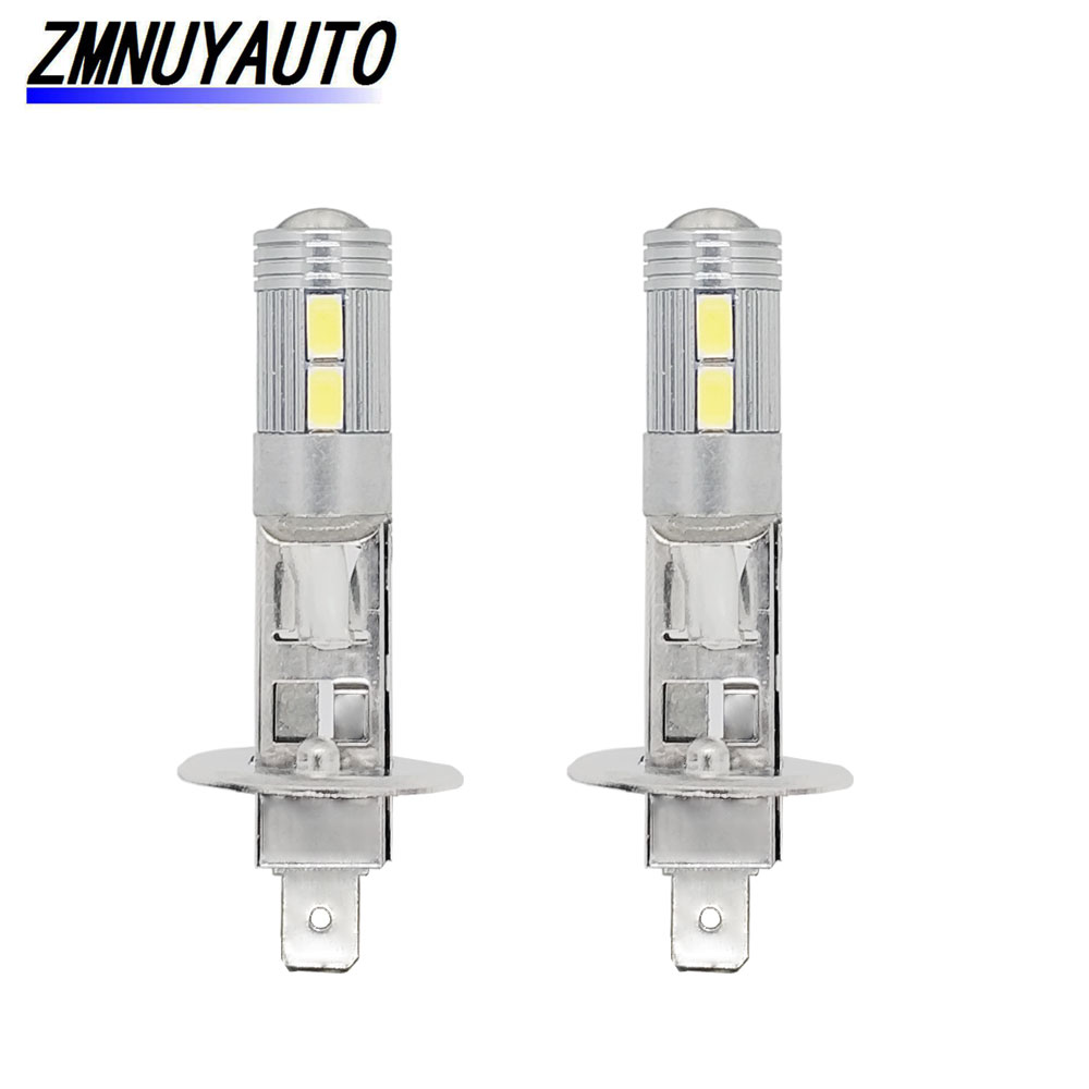 2pcs Auto Lamp H1 Led Fog Light 10SMD 5730 Super Bright White Car DRL Daytime Running Lights Driving Bulb With Lens 12V 6000K