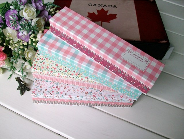 Hot sale .casual style kawaii fashion sweet small flowers printed paper pencil box . pencil case.  new arrival stationery