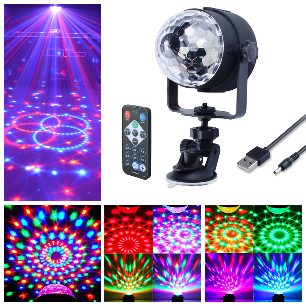 Mini 3W DC5V USB Power Remote Control RGB LED Stage Light LED Party Lamp Home Car Use Disco Ball Lights D35