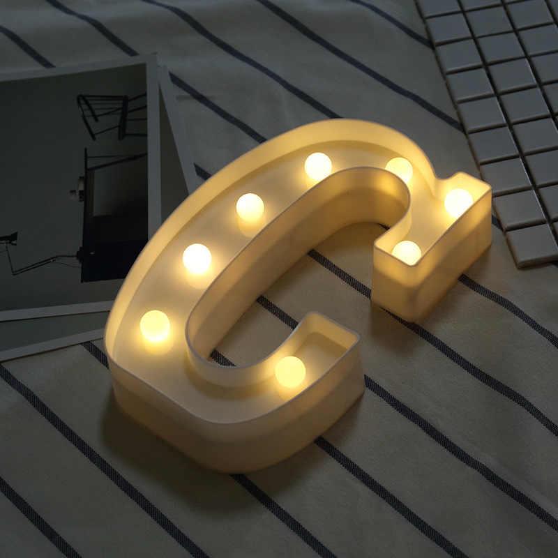 Светящаяся буква Ночной свет креативный 26 Английский алфавит числа светодиодные лампы батарея для романтической свадьбы, вечеринки украшения Прямая поставка