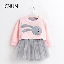 CNUM Kids Girls Dresses for Party and Wedding Long Sleeve Girls Dress Cotton Kid Cartoon Girls Princess Dress 2017 Kids Clothes