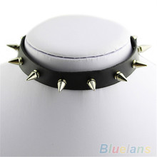Hot Punk Spike Leather Choker Woman Man Collar Necklace Silver Punk Tone Torques Studs EMO Metal Gothic 7ENT BCU6(China)