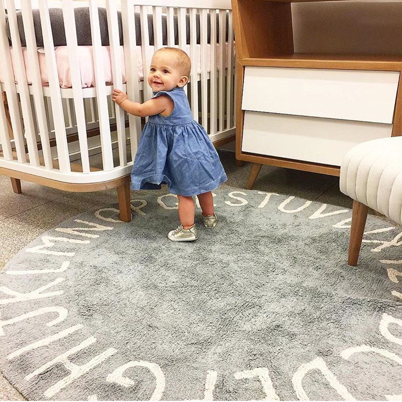 Letters Rug Round Cotton Mat Soft Pink Rugs Baby Pet Game Play Area Carpet Kids Bedroom