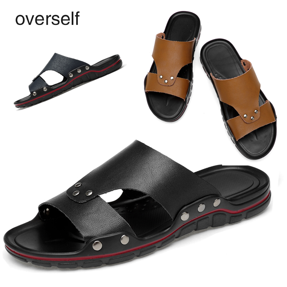 Overself Beach sandals casual men's flip flops New Fashion Men summer massage slippers breathable shoes male casual Big Sizes 47 2016 summer new men s massage sole flip flops personality simple slippers breathable fashion beach shoes size 40 44 b1953