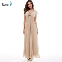 Dressv Champagne Long Evening Dress Cheap V Neck Short Sleeves Ankle Length Wedding Party Formal Dress