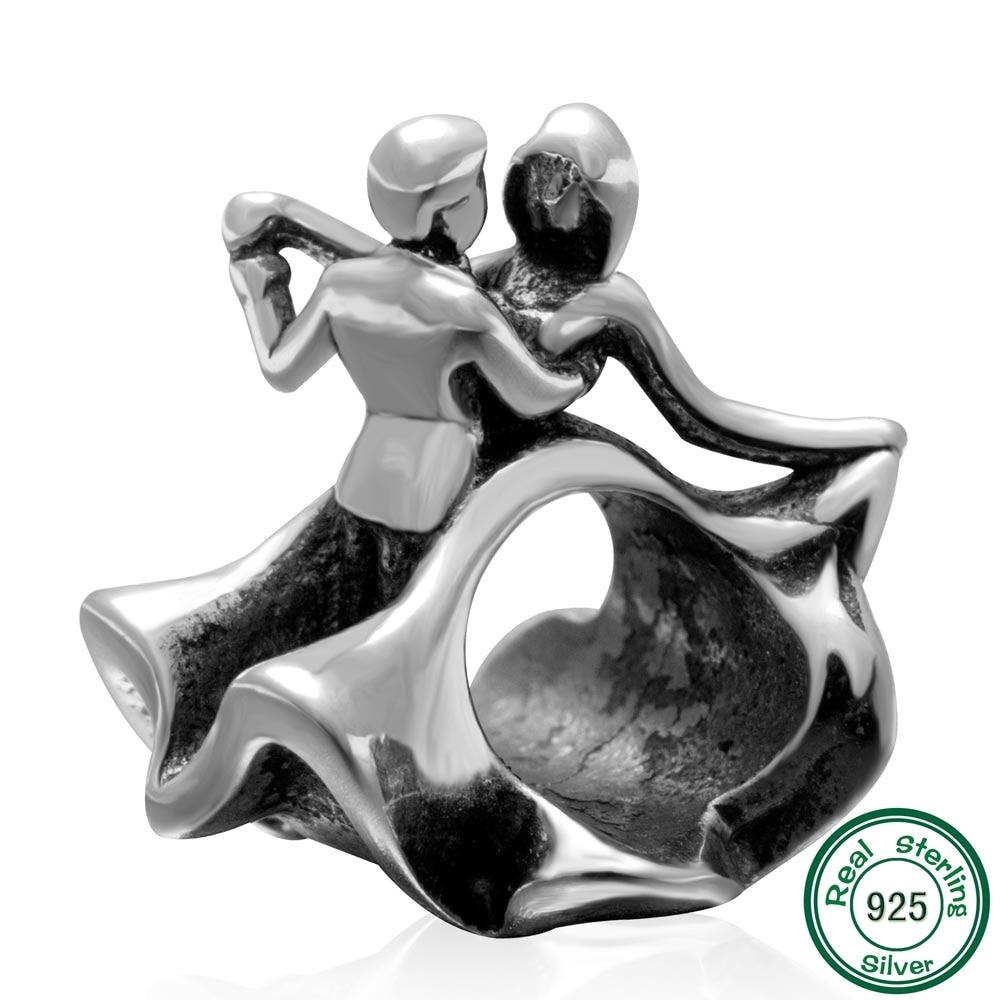 Authentic 925 Sterling Silver Presente do Dia dos namorados UM Par de Dançarino Encantos Beads fit para Encantos DIY Pulseiras Colares