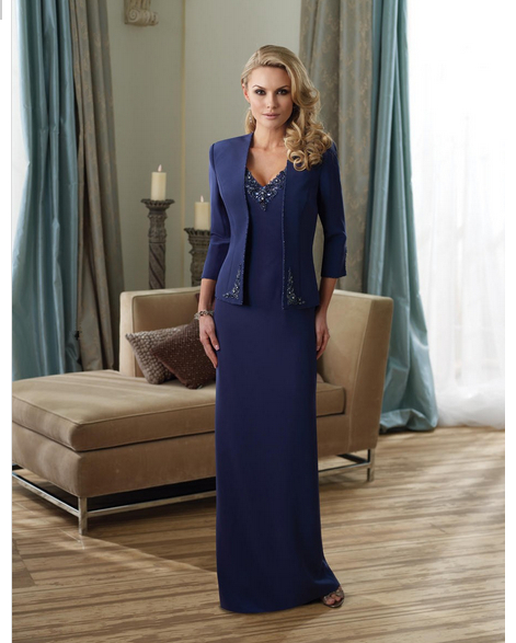 Navy Blue Long Winter Fashion Mother Of The Bride Dresses