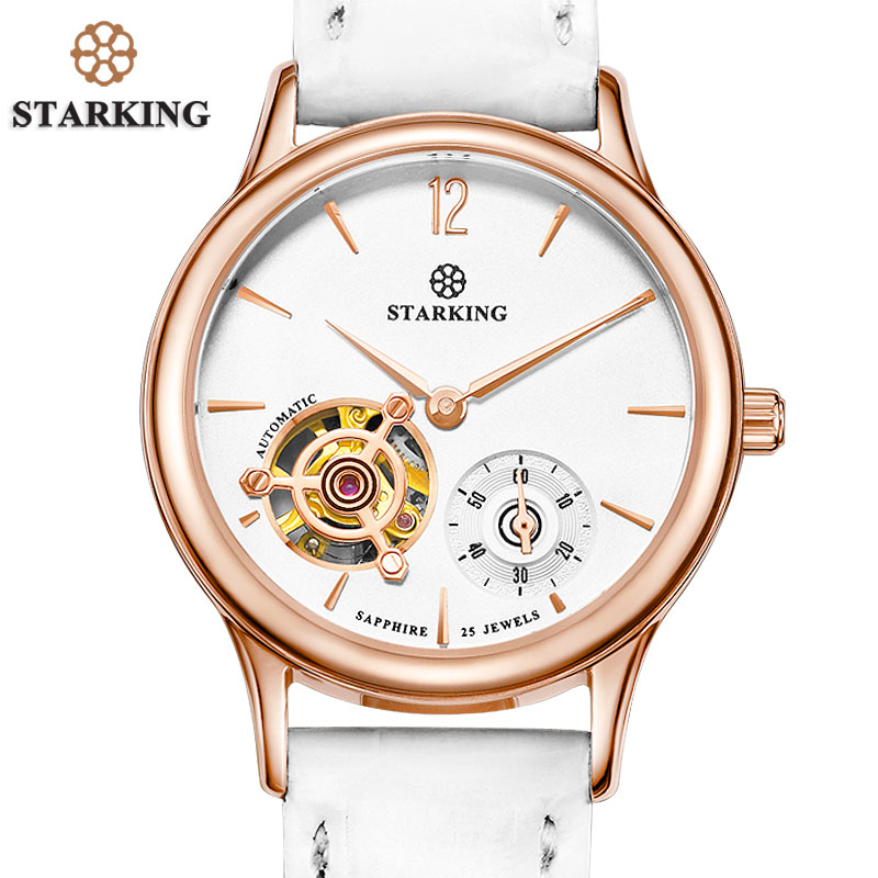 STARKING Women Mechanical Wristwatches Skeleton Tourbillon Analog Automatic Geneva 5ATM Leather Strap Famous Brand Watch AL0213 все цены