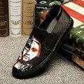 NALIMEZU 2017 осенью новый мужской обуви Европа 3D печати повседневная обувь тапочки 38 ~ 44 Супер мягкой замши zapatos hombre H078