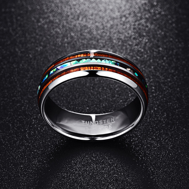 Nuncad 8MM Polished Matte Abalone Shell Tungsten Carbide Ring For Men Full Size 4-17 T025R